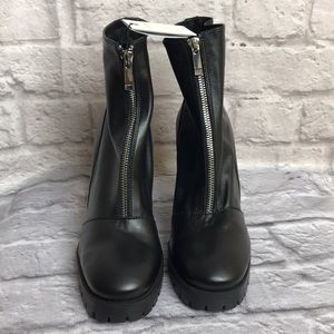 Zara Trafalug Leather Boots Sz 9 Women's New